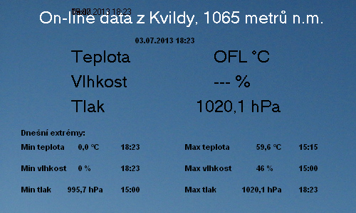 Počasí Kvilda, data z meteorologické stanice na Obecním úřadě Kvilda